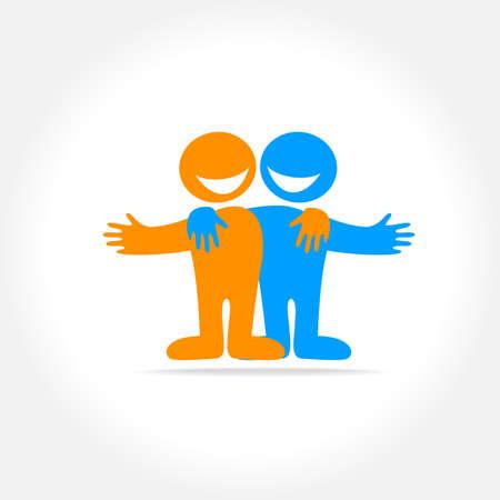 amistad: Amigos - un signo de amistad, relación, colaboración. La idea para el logo social.