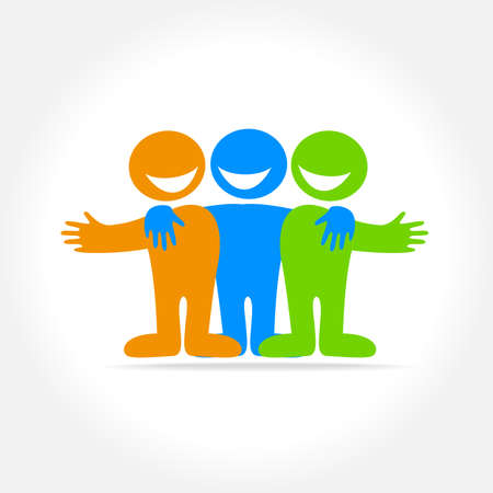 Friends - a sign of friendship, relationship, partnership. The idea for the social logo.