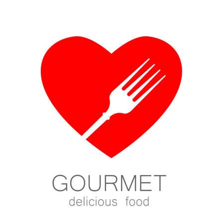 food store: Lovely food - template logo for restaurants, cafes, fast food, store food. Illustration