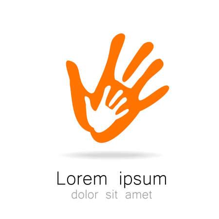 Hands - sjabloon logo voor het team, het fonds, vereniging, gemeenschap. Grafisch idee voor een bedrijf of een sociaal project.