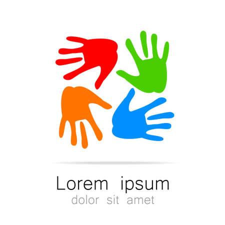 手 - チーム、基金、連合、コミュニティ テンプレート ロゴ。会社または社会的なプロジェクトのグラフィックのアイデア。