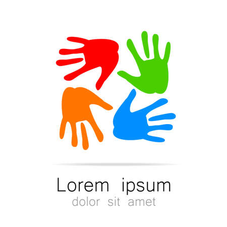 community help: Hands - template logo for the team, fund, association, community. Graphic idea for a company or a social project.