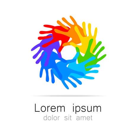 asociacion: Logotipo de la plantilla para el equipo, fondo, asociación, comunidad - Manos. Idea gráfica para una empresa o un proyecto social.