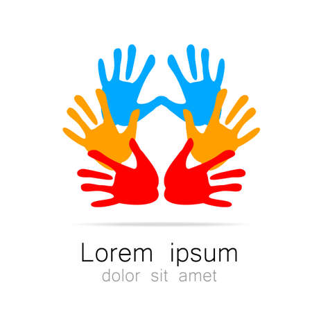 child care: Hands - template logo for the team, fund, association, community. Graphic idea for a company or a social project.