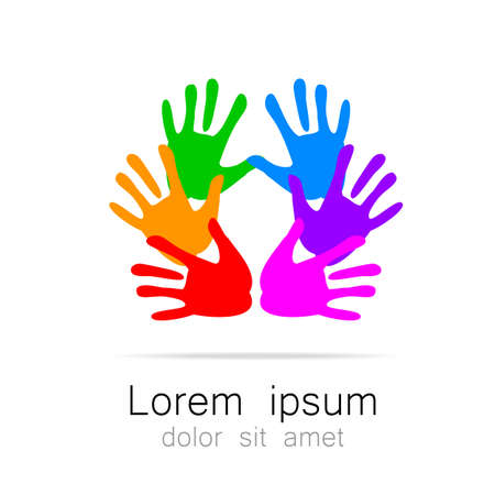 association: Hands - template logo for the team, fund, association, community. Graphic idea for a company or a social project.