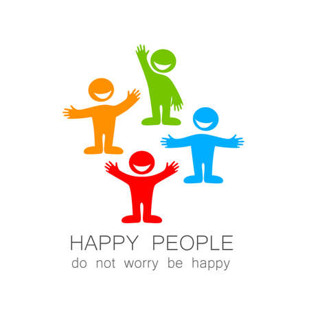 Happy people - template mark. The idea of social logo. Stok Fotoğraf - 43026755