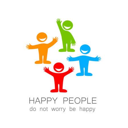 amistad: La gente feliz - Marca plantilla. La idea del logo social.