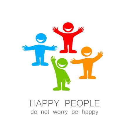 La gente feliz - Marca plantilla. La idea del logo social. Foto de archivo - 43026757