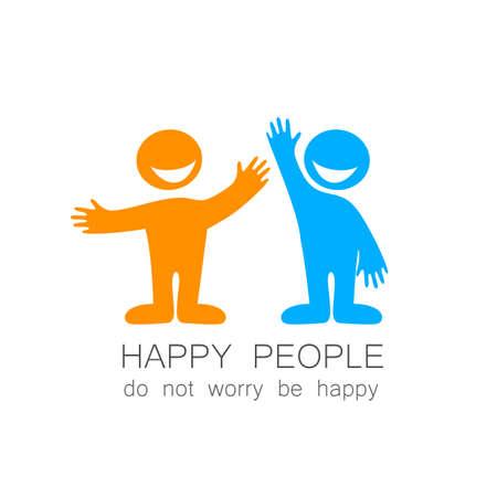 gens heureux: Les gens heureux - mod�le marque. L'id�e de logo sociale.