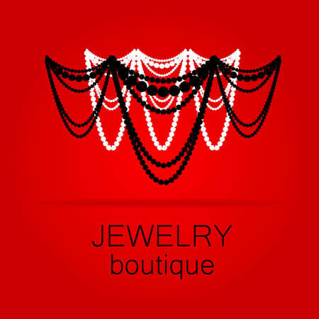 pearls and threads: Jewelry - template logo for jewelry salon, manufacture of jewelry, brand jewelry. Illustration