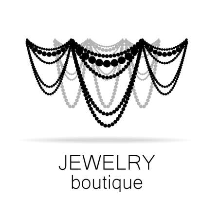 beads: Jewelry - template logo for jewelry salon, manufacture of jewelry, brand jewelry. Illustration