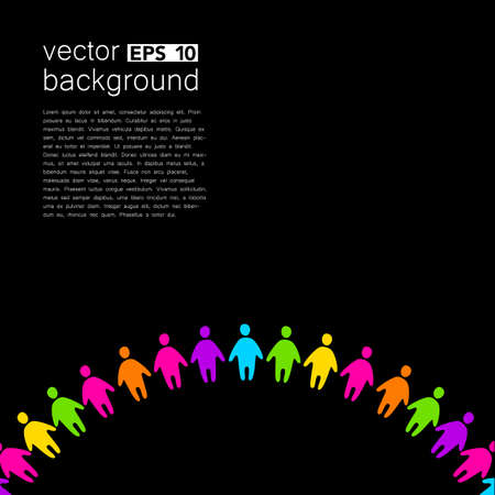 global design: Background template with colorful people. Design template concept for global organizations, companies, foundations, associations, unions. Illustration