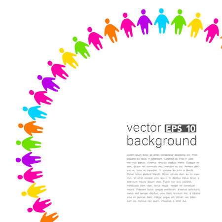 global connection: Background template with colorful people. Design template concept for global organizations, companies, foundations, associations, unions. Illustration