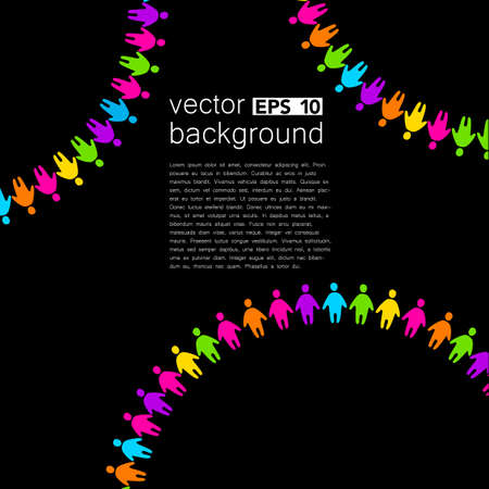 associations: Background template with colorful people. Design template concept for global organizations, companies, foundations, associations, unions. Illustration