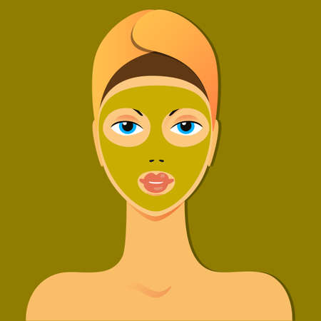 young girl nude: Face Mask - spa treatment for the skin.