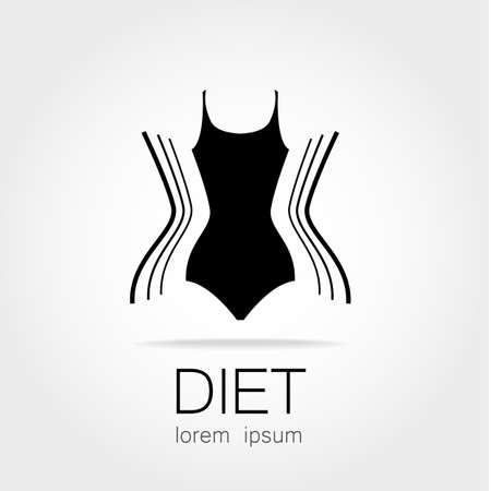 slim women: Weight Loss. Template sign for the diet, beauty and weight loss, womens health and sports club. Illustration