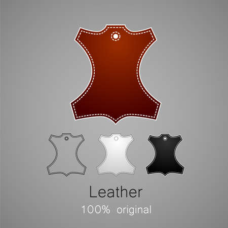 seam: Leather - 100% original. Template sign for the label, logo, advertising, products made of leather.