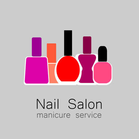 red nail colour: Nail Salon logo. Nail polish - a symbol of manicure. Design sign - nail care.