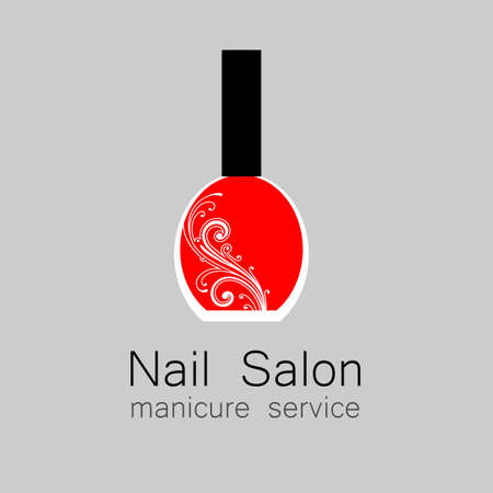 manicure pink: Nail Salon logo. Nail polish - a symbol of manicure. Design sign - nail care.