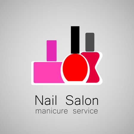 manicura: Logo Nail Salon. Esmalte de uñas - un símbolo de la manicura. Signo de Diseño - cuidado de las uñas. Vectores