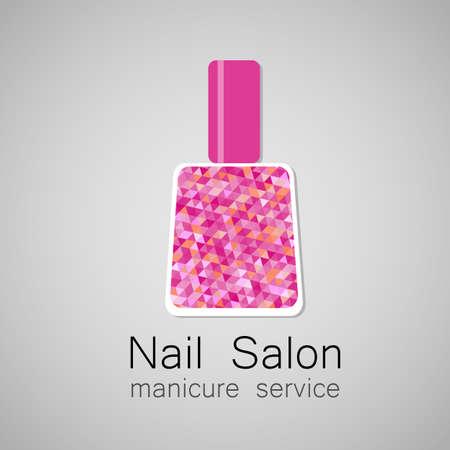nails: Nail Salon logo. Nail polish - a symbol of manicure. Design sign - nail care.
