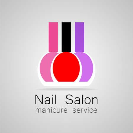 manicure nails: Nail Salon logo. Nail polish - a symbol of manicure. Design sign - nail care.