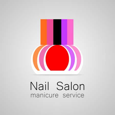 nail polish bottle: Nail Salon logo. Nail polish - a symbol of manicure. Design sign - nail care.