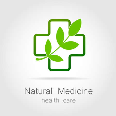 Natural medicine - a sign of eco bio treatment. Template for logotype alternative medicine, eco medicines, bio supplements, homeopathy, etc. Ilustração