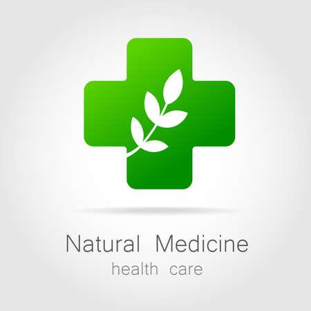 Natural medicine - a sign of eco bio treatment. Template for logotype alternative medicine, eco medicines, bio supplements, homeopathy, etc. Vettoriali