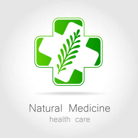 supplements: Natural medicine - a sign of eco bio treatment. Template for logotype alternative medicine, eco medicines, bio supplements, homeopathy, etc. Illustration