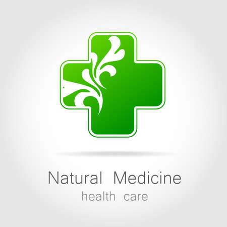 logo medicina: Medicina natural - un signo de tratamiento bio eco. Plantilla para la medicina alternativa logotipo, medicamentos eco, bio suplementos, homeopatía, etc.