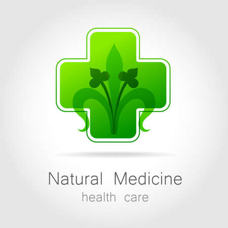 holistic: Natural medicine - a sign of eco bio treatment. Template for logotype alternative medicine, eco medicines, bio supplements, homeopathy, etc. Illustration