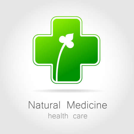 herbal: Natural medicine - a sign of eco bio treatment. Template for logotype alternative medicine, eco medicines, bio supplements, homeopathy, etc. Illustration