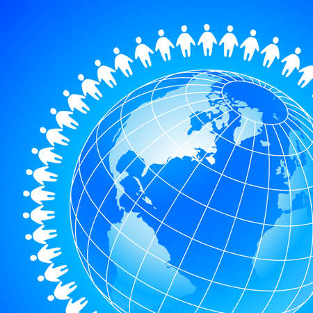 team concept: People around the earth. Template concept for global organizations, companies, foundations, associations, unions. Illustration