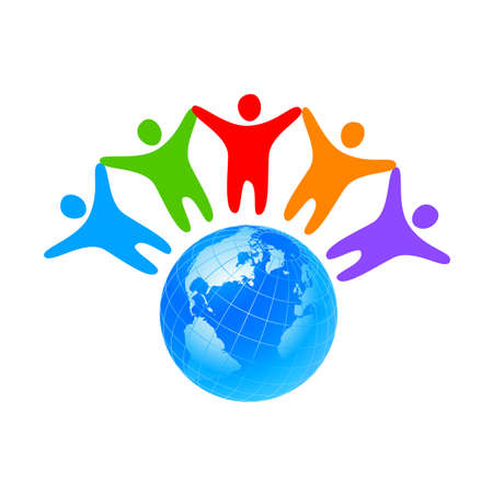 hands holding earth: People around the world holding hands. Unity concept.