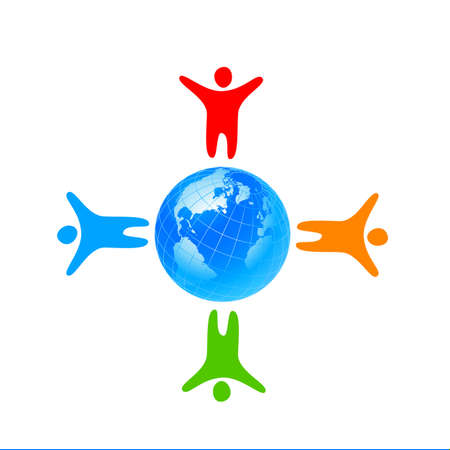 earth logo: People around the world holding hands. Unity concept.