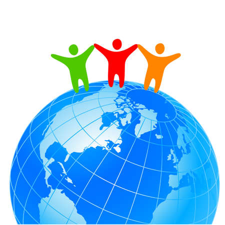 People around the world holding hands. Unity concept.