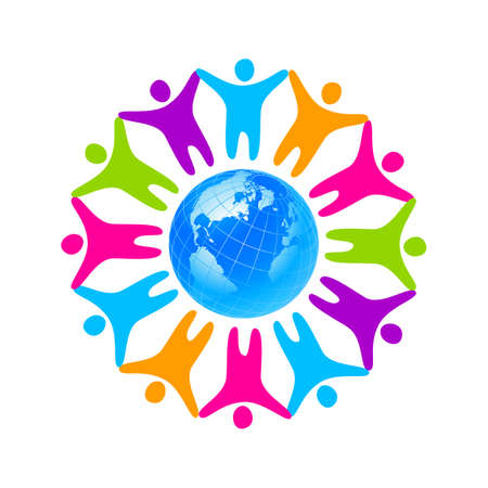 foundation: People around the planet. Template logo for the company, association, foundation, association. Illustration