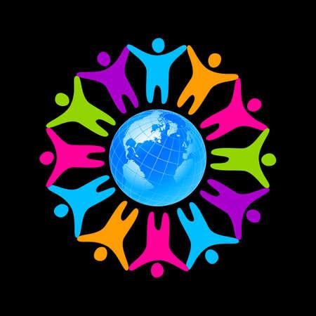 Personas de todo el planeta. Logotipo de la plantilla de la empresa, asociación, fundación, asociación. Vectores