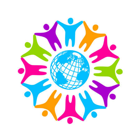 People around the planet. Template logo for the company, association, foundation, association. Stock Illustratie