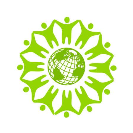 惑星の周りの人々。会社、協会、財団、協会の型板のロゴ。