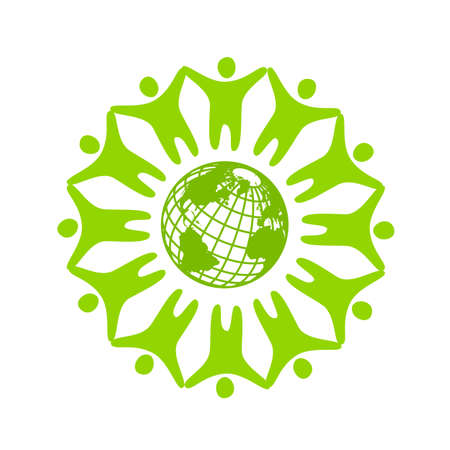 People around the planet. Template logo for the company, association, foundation, association. Иллюстрация