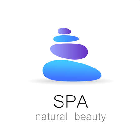alternative health care: SPA - template logo for Spa lounge, beauty salon, massage area, yoga center, natural cosmetics etc.. The balancing cairn - a symbol of harmony, tranquility and relaxation.