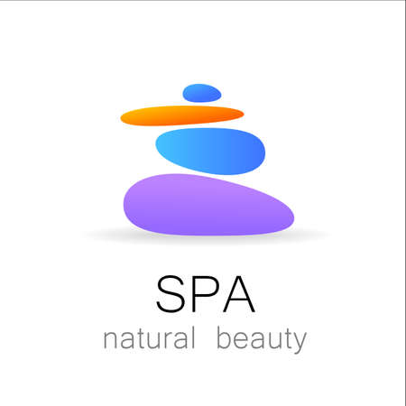 medicine logo: SPA - template logo for Spa lounge, beauty salon, massage area, yoga center, natural cosmetics etc.. The balancing cairn - a symbol of harmony, tranquility and relaxation.
