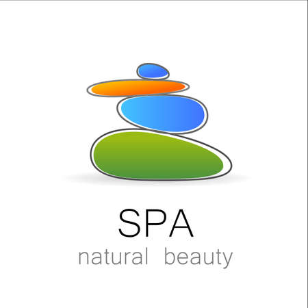 massage symbol: SPA - template logo for Spa lounge, beauty salon, massage area, yoga center, natural cosmetics etc.. The balancing cairn - a symbol of harmony, tranquility and relaxation.
