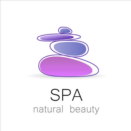 pebbles: SPA - template logo for Spa lounge, beauty salon, massage area, yoga center, natural cosmetics etc.. The balancing cairn - a symbol of harmony, tranquility and relaxation.