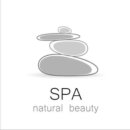 스파 - 조화, 평온과 휴식의 상징 - 스파 라운지, 미용실, 마사지 지역, 요가 센터, 천연 화장품 등 균형 케른에 대한 템플릿 로고.