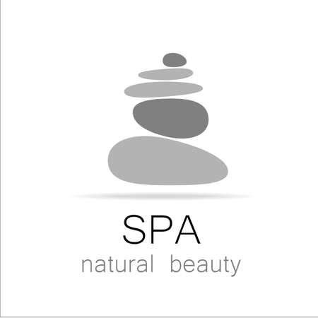 health and wellness: SPA - template logo for Spa lounge, beauty salon, massage area, yoga center, natural cosmetics etc.. The balancing cairn - a symbol of harmony, tranquility and relaxation.