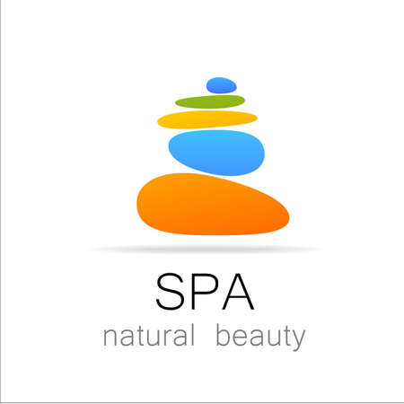 SPA - template logo for Spa lounge, beauty salon, massage area, yoga center, natural cosmetics etc.. The balancing cairn - a symbol of harmony, tranquility and relaxation. Imagens - 43027187
