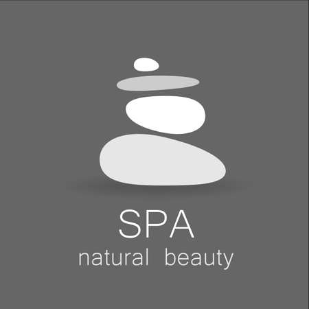 spa salon: SPA - template logo for Spa lounge, beauty salon, massage area, yoga center, natural cosmetics etc.. The balancing cairn - a symbol of harmony, tranquility and relaxation.
